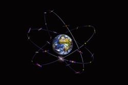 Konstellasjon av Galileo-satellitter, Europas nye navigasjonssystem. Illustrasjon: ESA