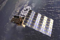 MetOp-satellitt i bane. Illustrasjon: ESA/AOES Medialab
