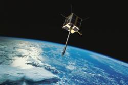AISSat-2, Norges andre nasjonale satellitt, ble skutt opp 8. juli 2014. Som sin forløper, AISSat-1, holder AISSat-2 øye med skipstrafikken fra rommet. Grafikk: Norsk Romsenter/FFI/NASA