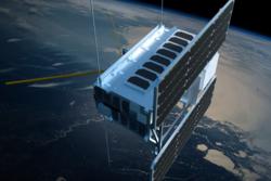 NorSat-1 er en av de norske nasjonale småsatellittene. Illustrasjon: T. Abrahamsen.