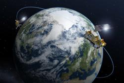 MetOp Second Generation er de nye europeiske værsatellittene i polare baner. De 6 satellittene vil gå parvis og skytes opp etter 2020. Grafikk: ESA/P. Carril