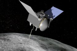 NASAs romsonde Origins, Spectral Interpretation, Resource Identification, and Security-Regolith Explorer (OSIRIS-REx) skal sende hjem prøve av asteroiden Bennu. Grafikk: NASA