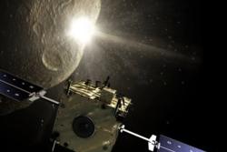 En romsonde smeller inn i asteroide for å endre dens bane mens en annen romsonde overvåker det hele. Illustrasjon: ESA