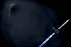Kometjegeren Rosetta nærmer seg kometen 67P/Churyumov-Gerasimenko.