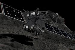 ESAs romsonde Rosetta landet på kometen 67P den 30. september 2016. Da ble Rosettas to år med forskning i bane rundt kometen avsluttet. Grafikk: ESA/ATG medialab