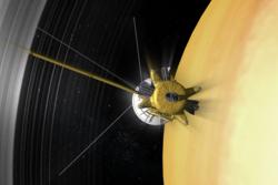 Fra 22. april 2017 skal romsonden Cassini gå innenfor Saturns ringer for å forske nærmere på dem og ringplaneten. Grafikk: NASA