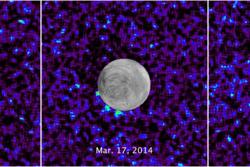 Søylene av flytende vann (lysegrønt) som er oppdaget på Jupiters måne Europa viser at det finnes et hav av flytende vann under isen. Foto: NASA/ESA/W. Sparks (STScI)