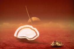 Romsonden Huygens landet på Titan i 2005. Illustrasjon: ESA