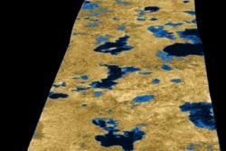 Innsjøer av metan og etan på Titan, Saturns største måne, tatt av romsonden Cassini.