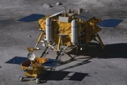 Kinas månerover Yutu og den planlagte månelanderen. Illustrasjon: Beijing Institute for Spacecraft System Engineering