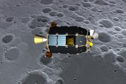 Romsonden LADEE skal undersøke månens atmosfære. En slik tynn atmosfære kan være typisk for små himmellegemer i solsystemet. Illustrasjon: NASA/Ames/D. Barry