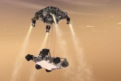 6. august 2012 landet roveren Curiosity på Mars ved å fire seg selv ned til bakken fra en svevende kran. Slik skal Mars2020 også lande i 2021. Illustrasjon: NASA/JPL-Caltech
