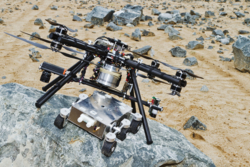 Dropter er et europeisk svevefartøy som skal fire ned en rover til overflaten på Mars. Den første testen av prototypen var vellykket. Foto: Airbus Defence & Space