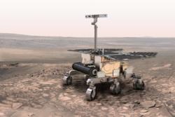 ExoMars' rover skal lete etter vann og liv på Mars vha blant annet norsk georadar. Illustrasjon: ESA