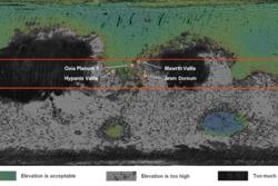 Alle fire mulige landingssteder for ExoMars-roveren ligger nær ekvator og har bergarter fra den gang Mars hadde vann og tykk atmosfære. Grafikk: ESA/Roscosmos/LSSWG