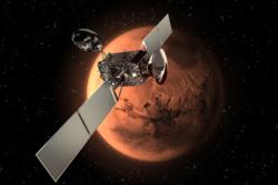 Trace Gas Orbiter, ExoMars' banesonde, skal undersøke atmosfæren på Mars og skytes opp i 2016. Illustrasjon: ESA