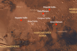 ExoMars-roveren skal lande i Oxia Planum i 2019. Oxia Planum er en gammel flodslette, her sett i forhold til andre mulige landingssteder. Foto: ESA/CartoDB