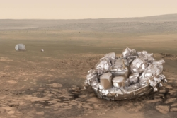 ESAs landingsmodul Schiaparelli landet på Mars onsdag 19. oktober 2016 for å teste en ny måte å sette tunge nyttelaster på Mars. Grafikk: ESA/ATG medialab