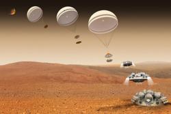 Slik skulle den eksperimentelle modulen Schiaparelli lande på Mars 19. oktober 2016 for å teste en ny måte å sette tunge nyttelaster ned på vår røde naboplanet. Grafikk: ESA/ATG medialab