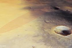 Landingsstedet til Schiaparelli i Meridani Planum på Mars sett i perspektiv. Landingen skjer 19. oktober 2016. Foto: ESA/DLR/FU Berlin