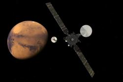 ExoMars Trace Gas Orbiter setter fri landingsmodulen Schiaparelli ved Mars 16. oktober 2016. Grafikk: ESA/ATG medialab