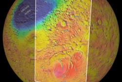 Topografi, høydeforskjeller (i farge) og navn på strukturer på den sørlige halvkule og nær sørpolen på Mars. Grafikk: ESA
