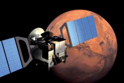 Den europeiske romsonden Mars Express i bane rundt vår røde naboplanet. Illustrasjon: ESA/Medialab