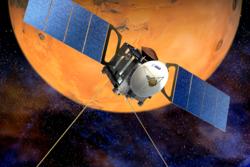 Mars Express er ESAs sonde i bane rundt Mars. Illustrasjon: ESA
