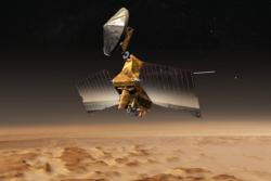 NASAs sonde Mars Reconnaisance Orbiter har undersøkt overflaten på Mars fra bane siden 2006. Grafikk: NASA