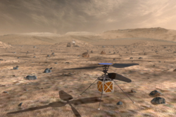 En flygende drone til å hjelpe med navigering fra luften er foreslått til den nye roveren Mars2020. Grafikk: NASA