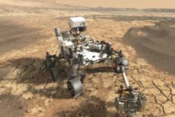 Perseverance, NASAs nye Mars-rover, skytes opp i juli 2020 for å lete etter vann og liv på Mars. Et av instrumentene ombord er georadaren Rimfax laget av FFI. Grafikk: NASA