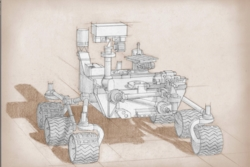 En skisse av NASAs nye rover Mars2020, som er basert på Curiosity som landet på Mars i 2012. Grafikk: NASA/JPL-Caltech