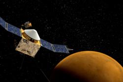 Romsonden MAVEN skal skaffe informasjon om de prosessene som førte til at Mars mistet meget av sin atmosfære på et tidlig stadium. Foto: NASAs Goddard Space Flight Center.