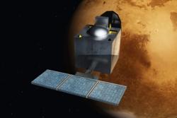 Indias banesonde til Mars, Mars Orbiter Mission (MOM), skal undersøke atmosfæren og se etter forekomst av metan. Illustrasjon: Wikimedia Commons