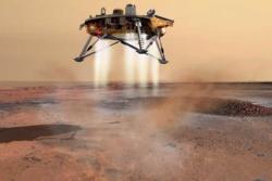 Romsonden Phoenix lander på nordpolen på Mars for å lete etter is under overflaten. Illustrasjon: NASA/JPL/C. Waste