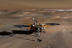 Romsonden Phoenix landet ved nordpolen på Mars og tok prøver av sand og is for å finne ut hvor vannet har blitt av på vår røde naboplanet. Illustrasjon: NASA