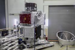 BepiColombo under testing. De to romsondene som BepiColombo består av sitter oppå romfartøyet som skal få dem til Merkur. Foto: ESA