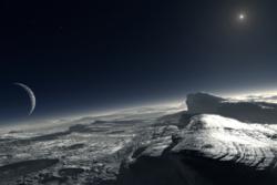 Overflaten av Pluto, med Charon og sola på himmelen. (Illustrasjon)