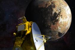 Illustrasjon av romsonden New Horizons, Pluto og Charon. Den 14. juli 2015 er New Horizons 12 500 kilometer fra overflaten av Pluto. Grafikk: NASA/JHU APL/SwRI/S. Gribben