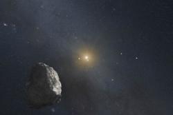 Illustrasjon av et objekt i Kuiper-beltet utenfor Neptuns bane. Romsonden New Horizons kan ta nærbilder av et slikt objekt i 2019. Grafikk: NASA/ESA/STScI/G. Bacon