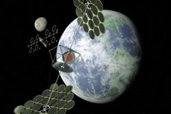 Konsept av et solkraftverk i rommet, her fra NASAs Space Solar Power Exploratory Research and Technology program, eller SERT. Illustrasjon: NASA
