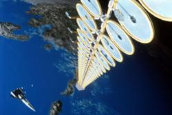 Suntower var NASAs planer om et soltårn i bane for å produsere strøm fra rommet. Illustrasjon: NASA