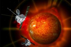 NASAs solsonder STEREO A og B ble skutt opp i 2006 og holder øye med sola og romværet. Grafikk: NASA/J. Friedlander