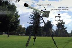 """Trygg måte å se solformørkelse på, å projisere lyset fra et teleskop eller kikkert over på papir. Grafikk: Fra """"Den stormfulle sola""""/P. Brekke"""