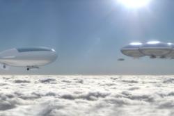 Slik foreslår NASA-studien HAVOC at en rombase på Venus kan se ut, svevende høyt oppe i atmosfæren med luftskip som frakter astronauter til og fra bane. Grafikk: NASA Langley Research Center