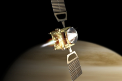 Den europeiske romsonden Venus Express går inn i bane rundt Venus. Grafikk: ESA
