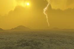 Lyn finnes på flere av planetene i solsystemet. Her er lyn på overflaten av Venus. Illustrasjon: ESA