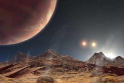 Exoplaneten 188753 går i bane rundt tre stjerner. Illustrasjon: NASA/JPL/CalTech