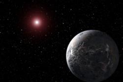Exoplaneten OGLE-2005-BLG-390Lb er den fjerneste exoplaneten som har blitt oppdaget. Den ligger 21 500 lysår unna, og er svært kald, ned mot 220 grader Celsius på overflaten. Illustrasjon: NASA