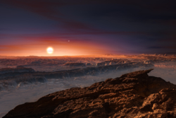Slik kan det se ut på den jordliknende planeten Proxima Centauri b, som ligger i den beboelige sonen til stjernen sin, bare 4 lysår unna. Planeten har likevel kanskje ikke vann på overflaten. Grafikk: ESO/M Kornmesser.